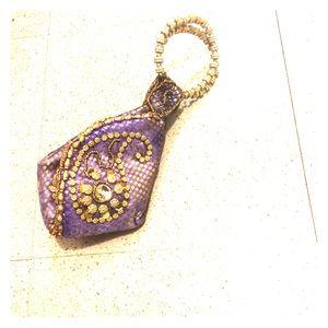 Handbags - NWT purple silk beaded indian evening potli purse